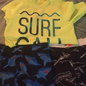 Other - Combo of boy swim shorts and spf rash guard .